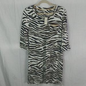 Nwt Soma zebra animal print tshirt midi dress S